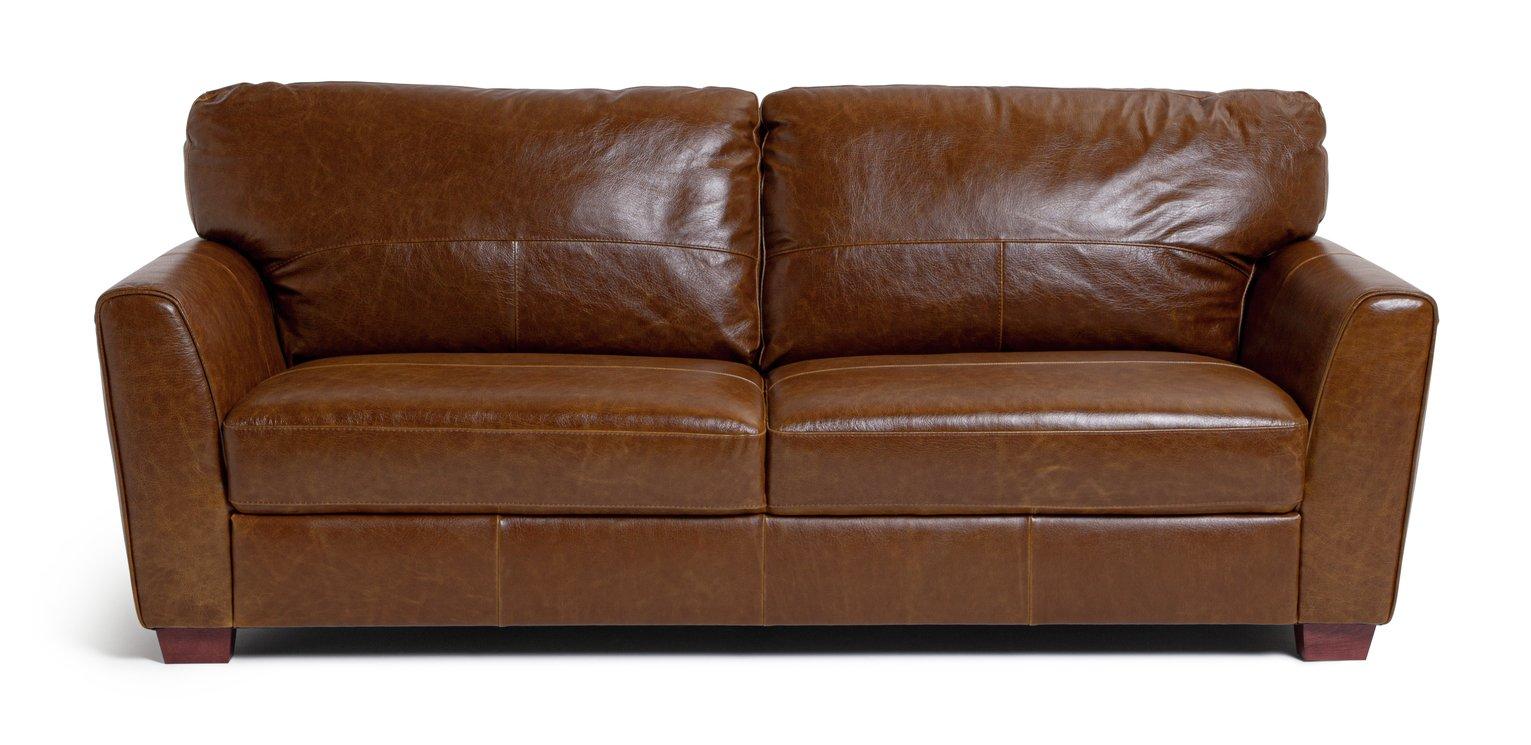 Habitat Milford 4 Seater Leather Sofa - Tan