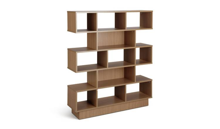 Habitat Cubes 5 Tier Wide Bookcase - Oak Effect