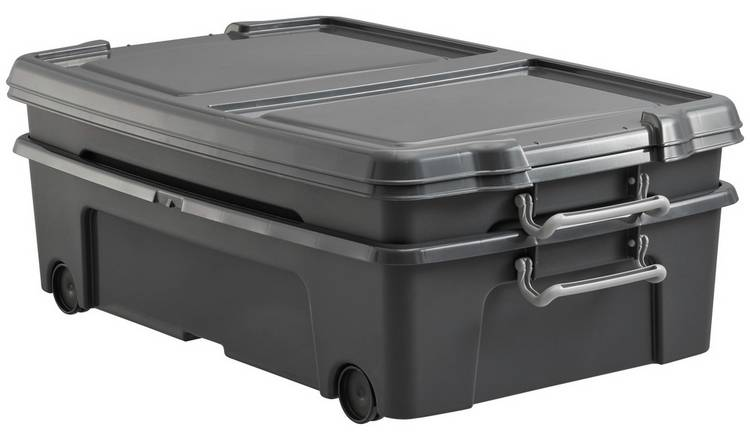 Strata 35 Litre Wheeled Underbed Storage Boxes - Set of 2