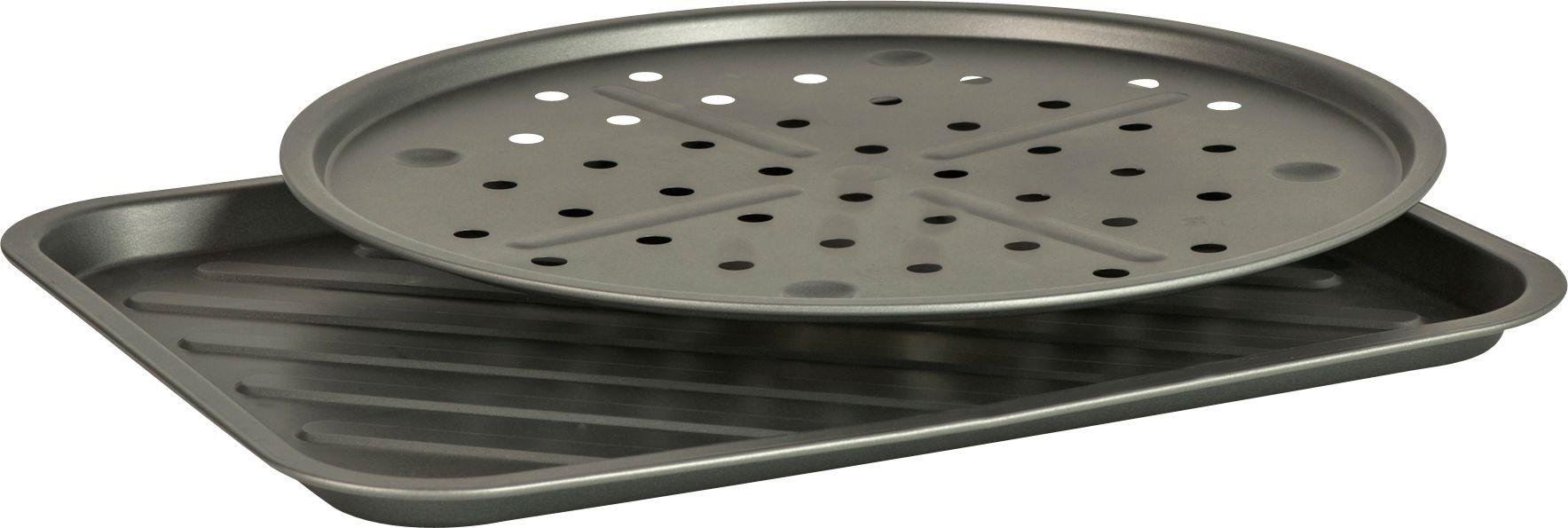 Image of HOME - 2 Piece Non-Stick Pizza Pan and Oven Chip Tray Set