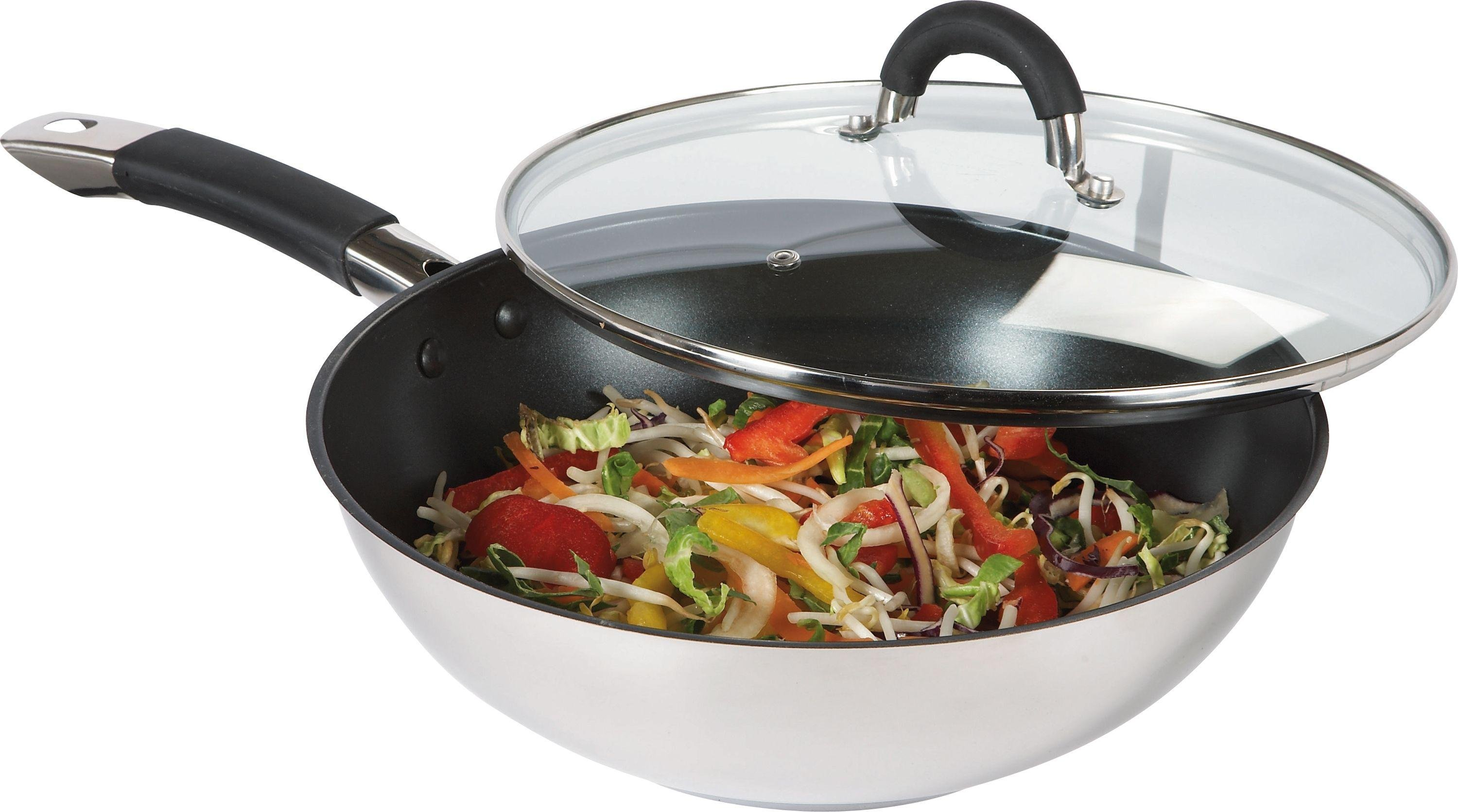 ready steady cook 28cm nonstick stirfry pan with lid - Stir Fry Pan