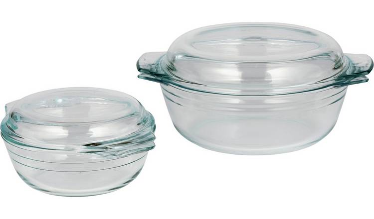 Argos Home 2 Piece Glass Casserole Dish Set
