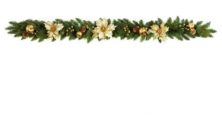 Gold Christmas Wreath.Buy Premier Decorations Poinsettia Bauble Garland Gold Christmas Wreaths And Garlands Argos