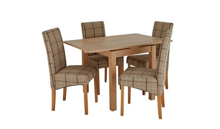 Argos Home Clifton Oak Dining Table /& 4 Cream Check Chairs