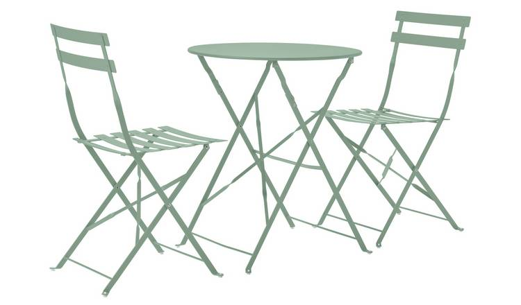 Argos Home Eve Folding 2 Seater Metal Bistro Set - Sage