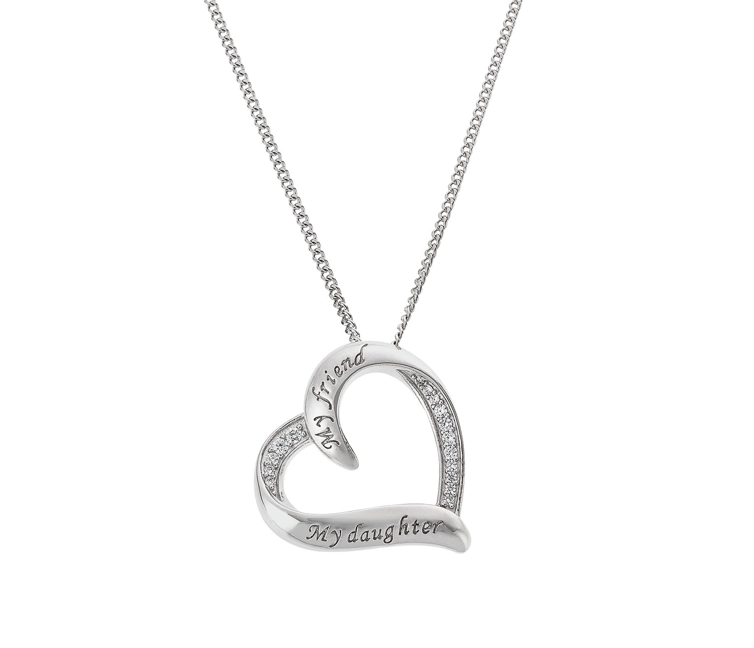 Moon & Back Silver 'My Friend, My Daughter' CZ Pendant