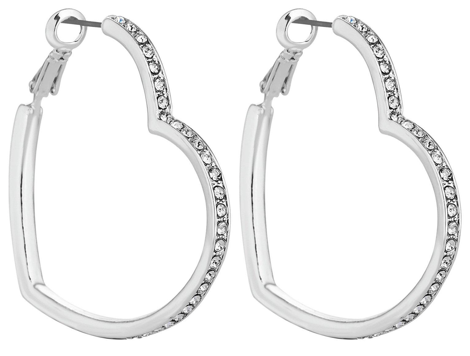 Lipsy Silver Colour Crystal Heart Hoop Earrings