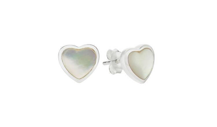 6b45bb442c9624 Revere Sterling Silver Mother of Pearl Heart Stud Earrings861/9022
