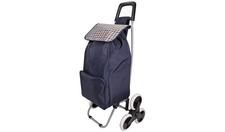 6 Wheel Folding Navy Blue Stair Climber Shopping Trolley