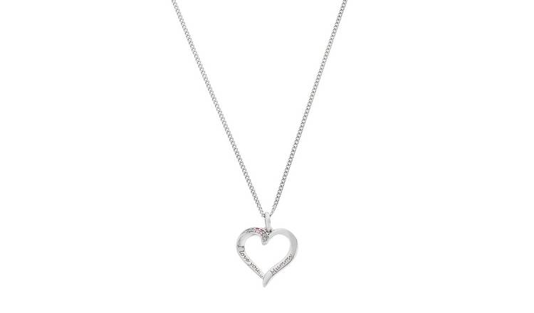 Moon & Back Cubic Zirconia Heart Pendant Necklace