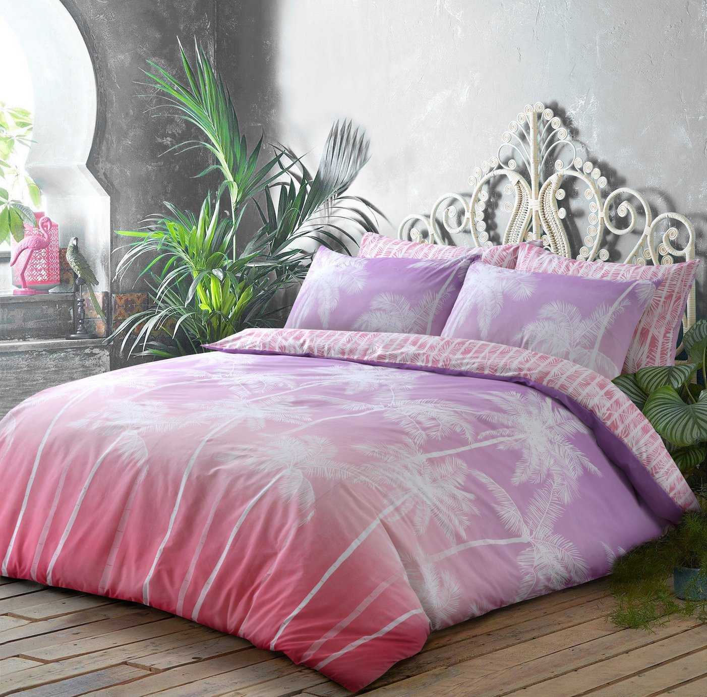 Argos Home Pink Ombre Palm Bedding Set - Double