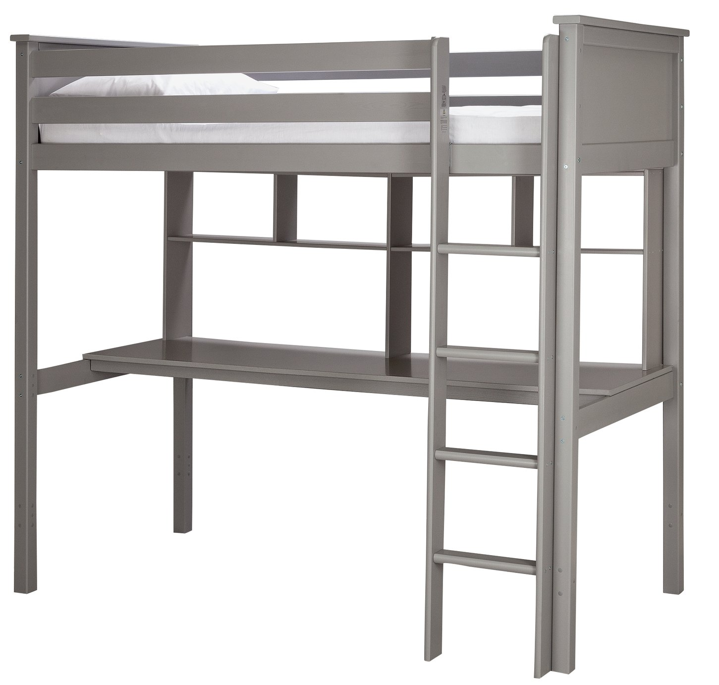 Argos Home Brooklyn High Sleeper with Desk & Mattress - Grey