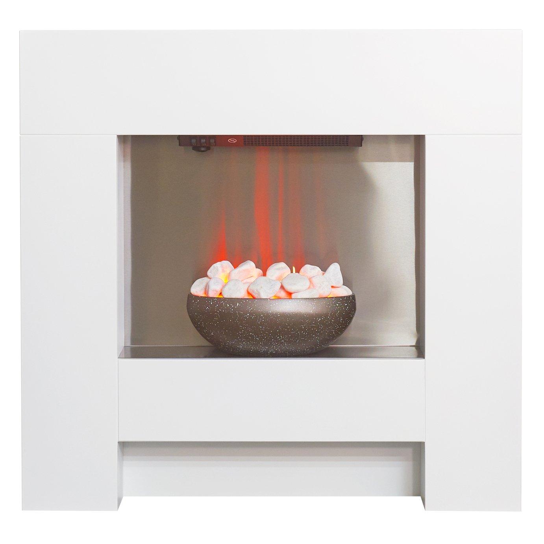 Adam Cubist 2kW Electic Fire Suite - White