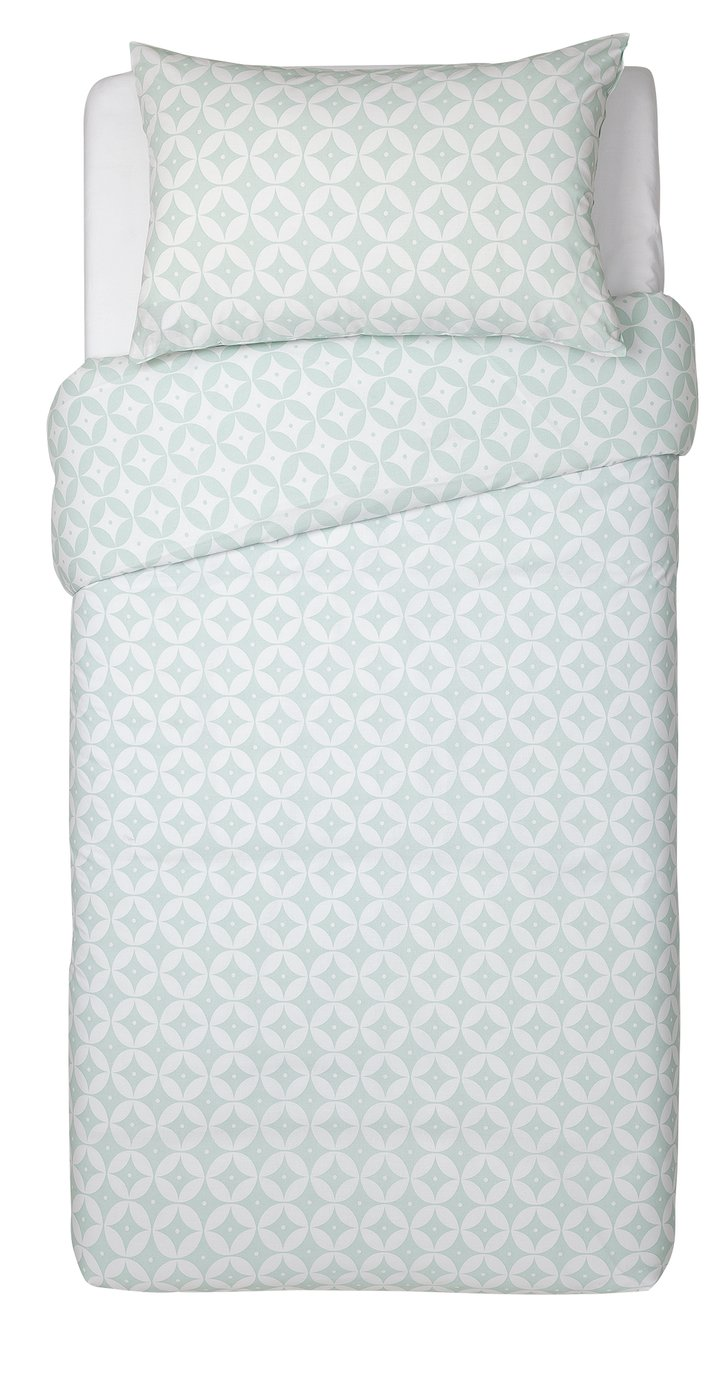 Argos Home Duck Egg Geo Bedding Set - Single