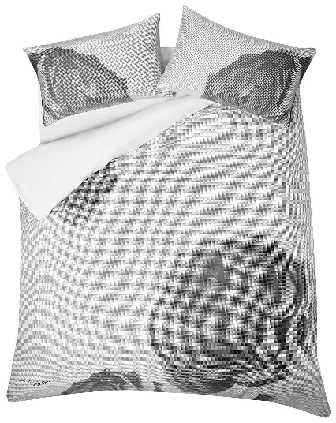 Karl Lagerfeld Pixel Rose Grey Bedding Set - Kingsize