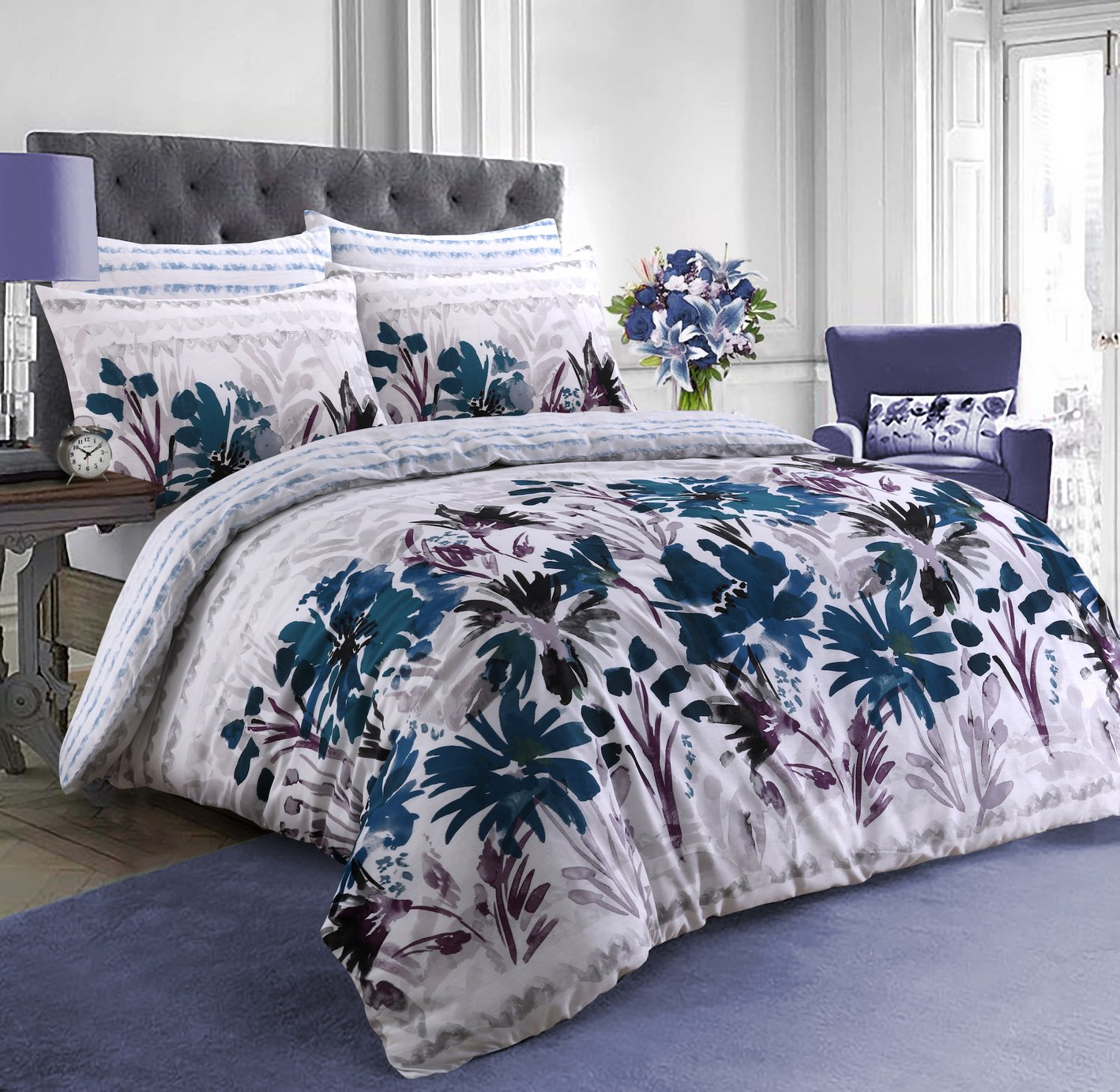 Argos Home Teal Garden Flowers Bedding Set - Double