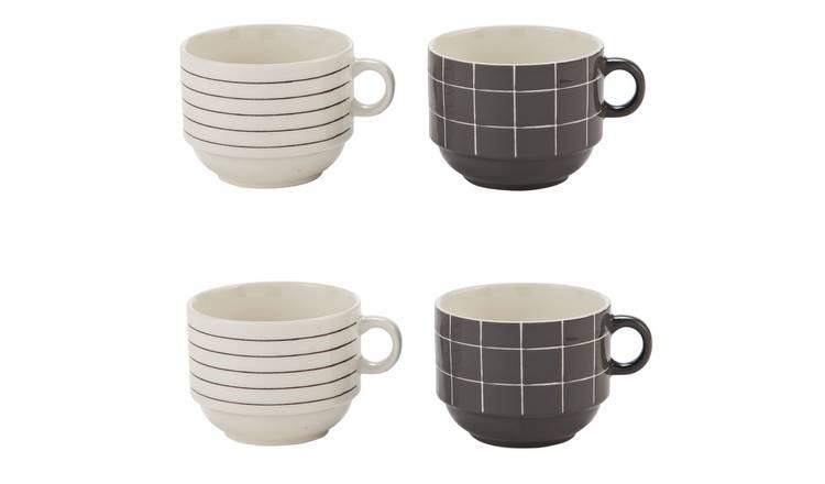 Buy Argos Home Set of 4 Grey Check Stacking Mugs   Cups and mugs   Argos