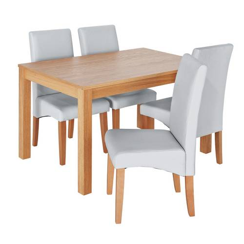 Buy Argos Home Clifton Oak Dining Table & 4 Grey Chairs