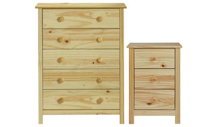 Habitat Scandinavia Bedside & 5 Drawer Chest Set - Pine