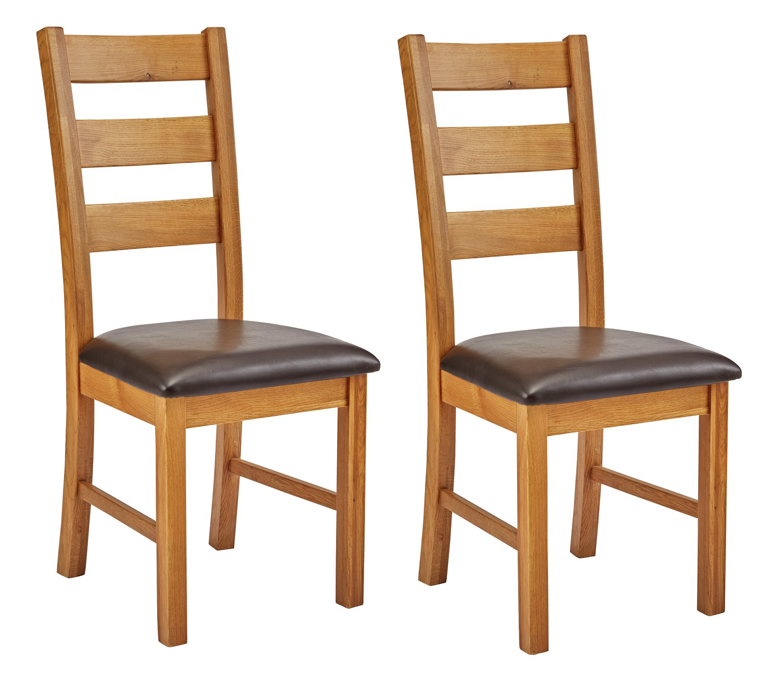 Argos Home Farmhouse Pair of Solid Oak Dining Chairs