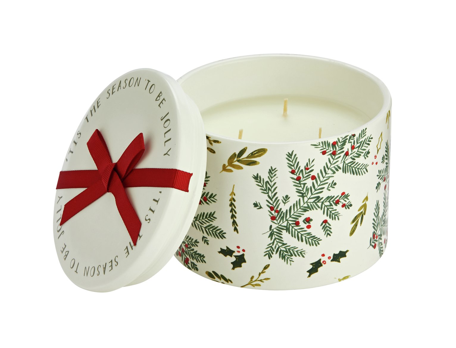 Sainsbury's Home Christmas Spice Printed Ceramic Candle