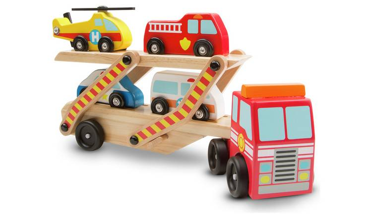Buy Melissa Doug Wooden Emergency Vehicle Carrier Toy Cars Vehicles And Sets Argos
