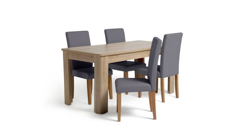 Habitat Miami Curve Extending Table & 4 Charcoal Chairs