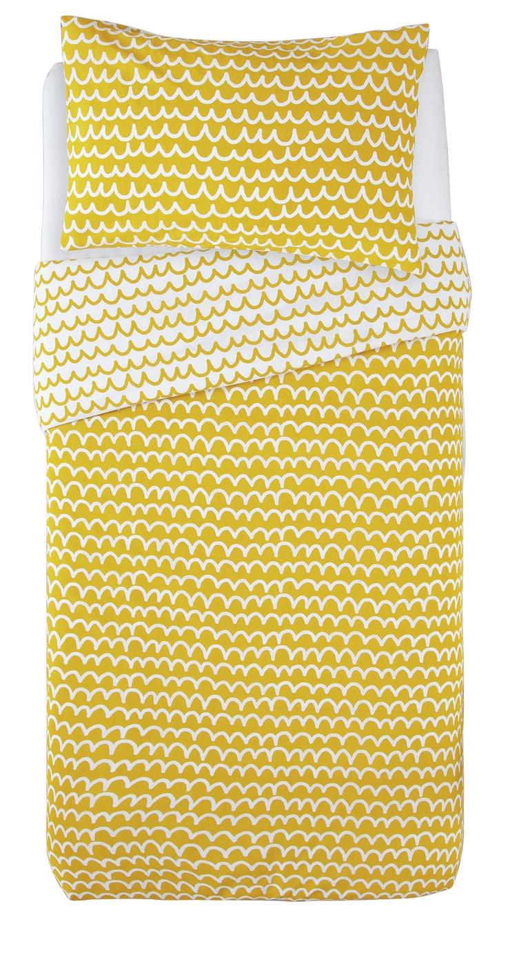 Argos Home Mustard Squiggle Bedding Set - Single