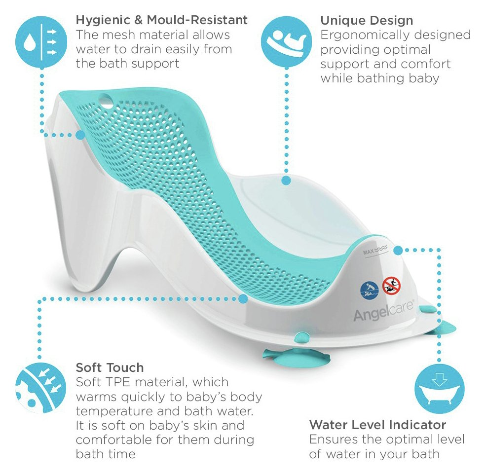Angelcare Bath Support Aqua Soft Quick Easy To Store Easy To Use Comfort Lightw