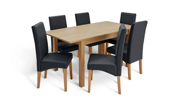 Habitat Clifton Oak Extending Table & 6 Black Chairs