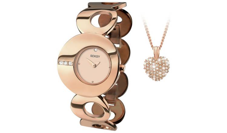 Seksy Ladies' Eclipse Rose Gold Plated Watch and Pendant Set