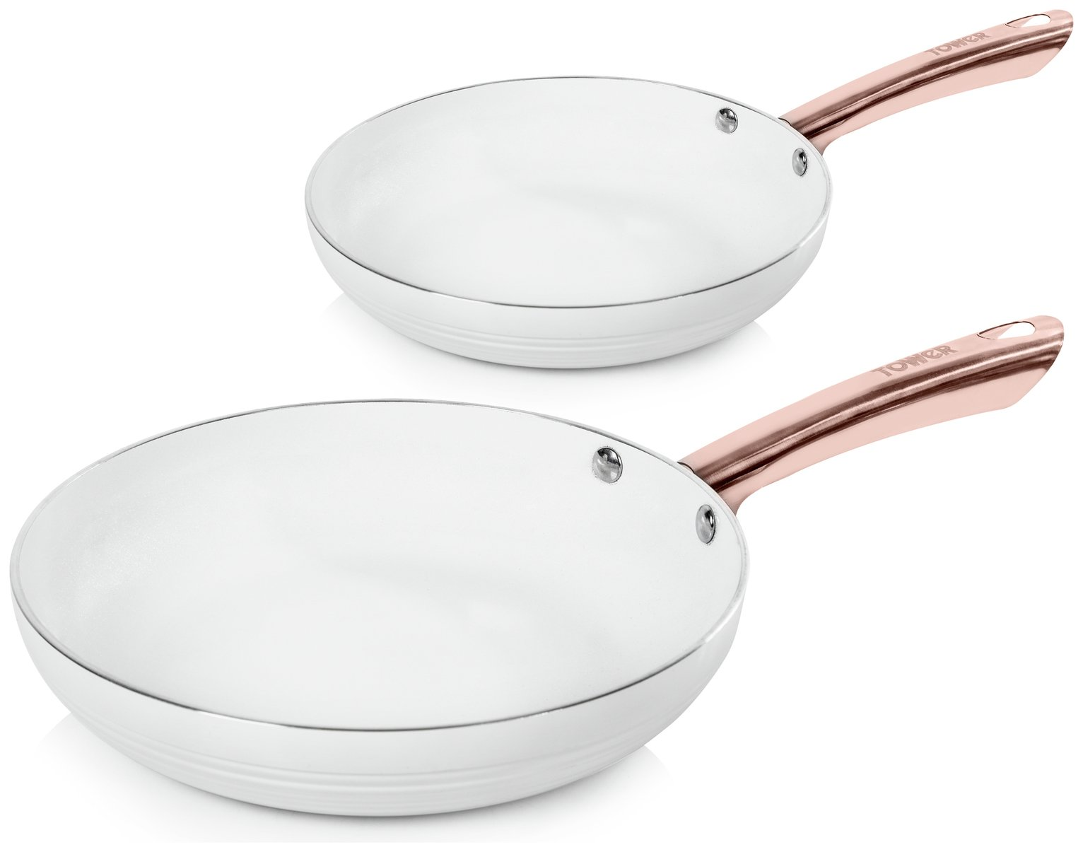 Tower Linear 2 Piece Pan Set - White and Rose Gold