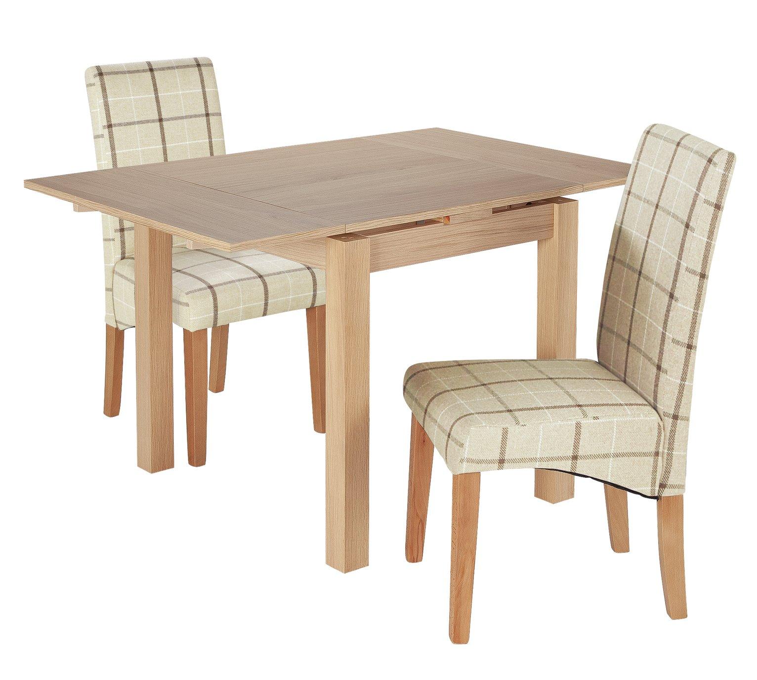 Argos Home Clifton Oak Extending Table & 2 Cream Check Chair