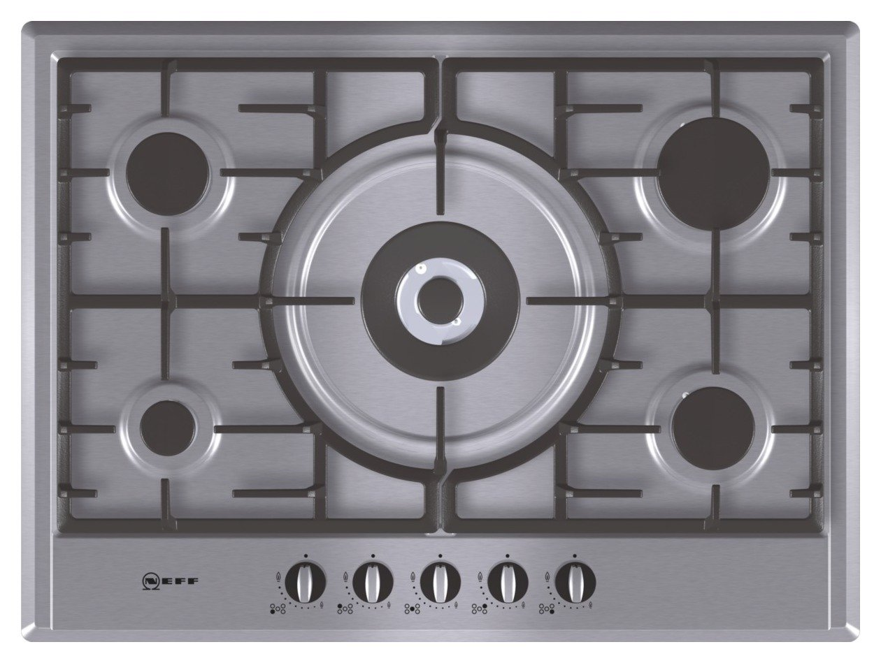 Neff T25S56N0GB Cast Iron Support Gas Hob - Stainless Steel