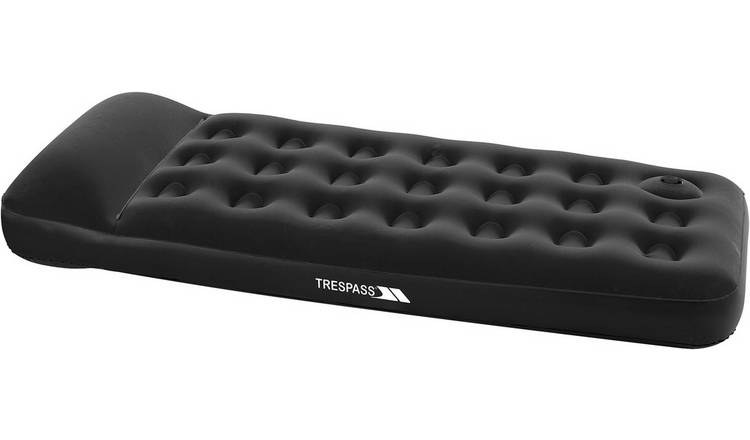 Trespass Single Flocked Air Bed with Foot Pump