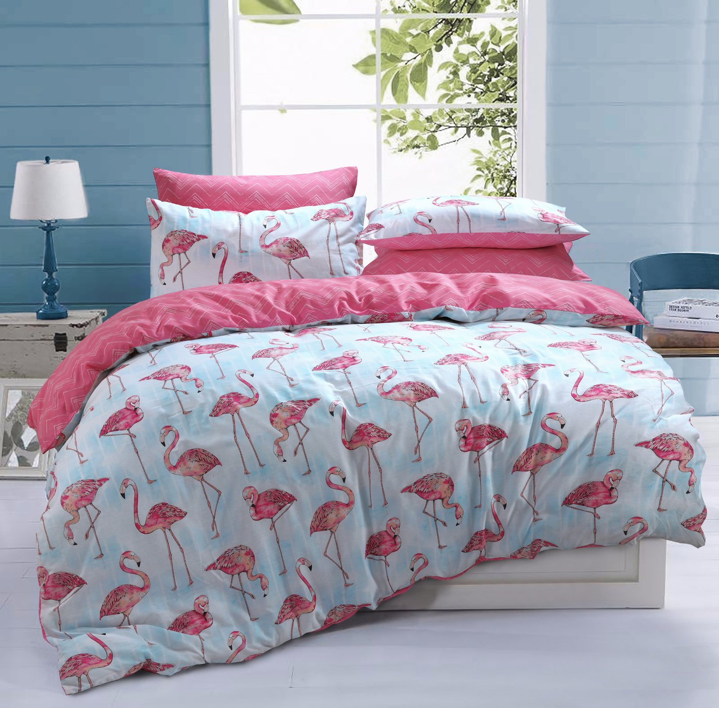 Argos Home Flamingo Stripe Bedding Set - Kingsize