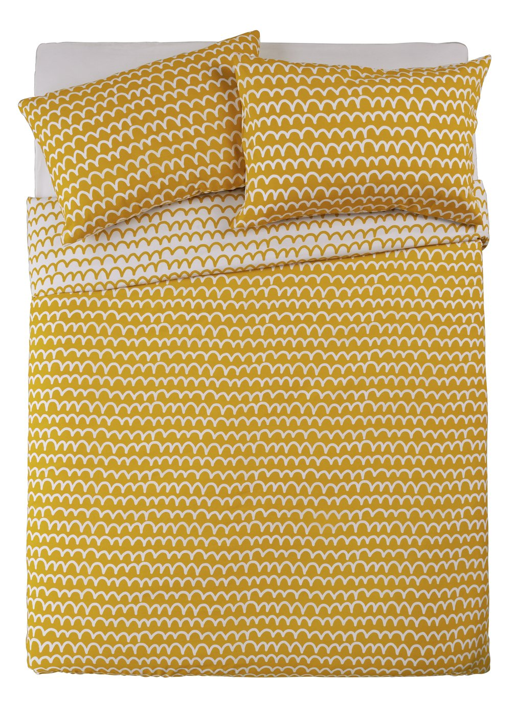 Argos Home Mustard Squiggle Bedding Set - Kingsize
