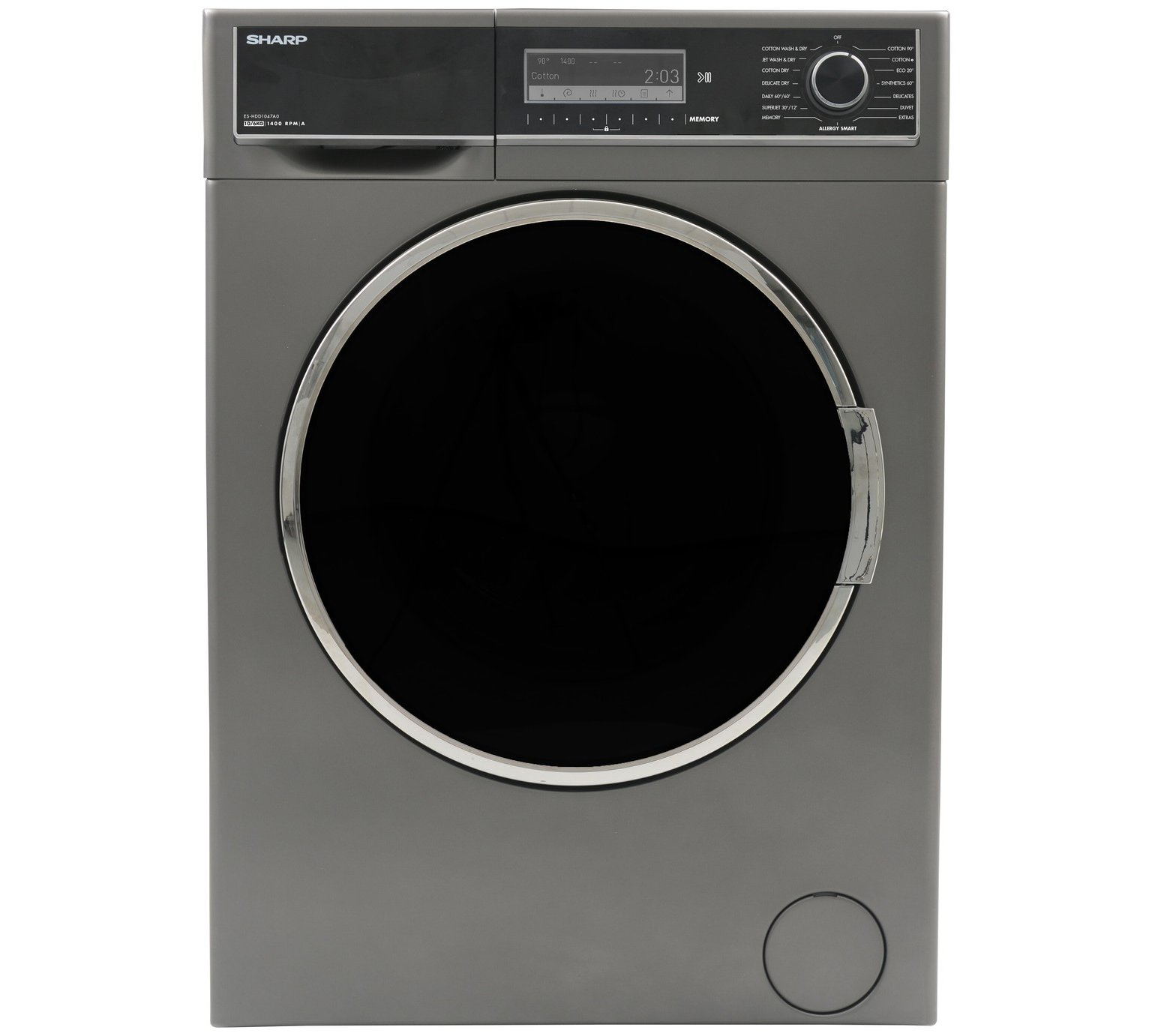 Sharp ES-HDD1047A0 10/6KG 1400 Spin Washer Dryer- Anthracite