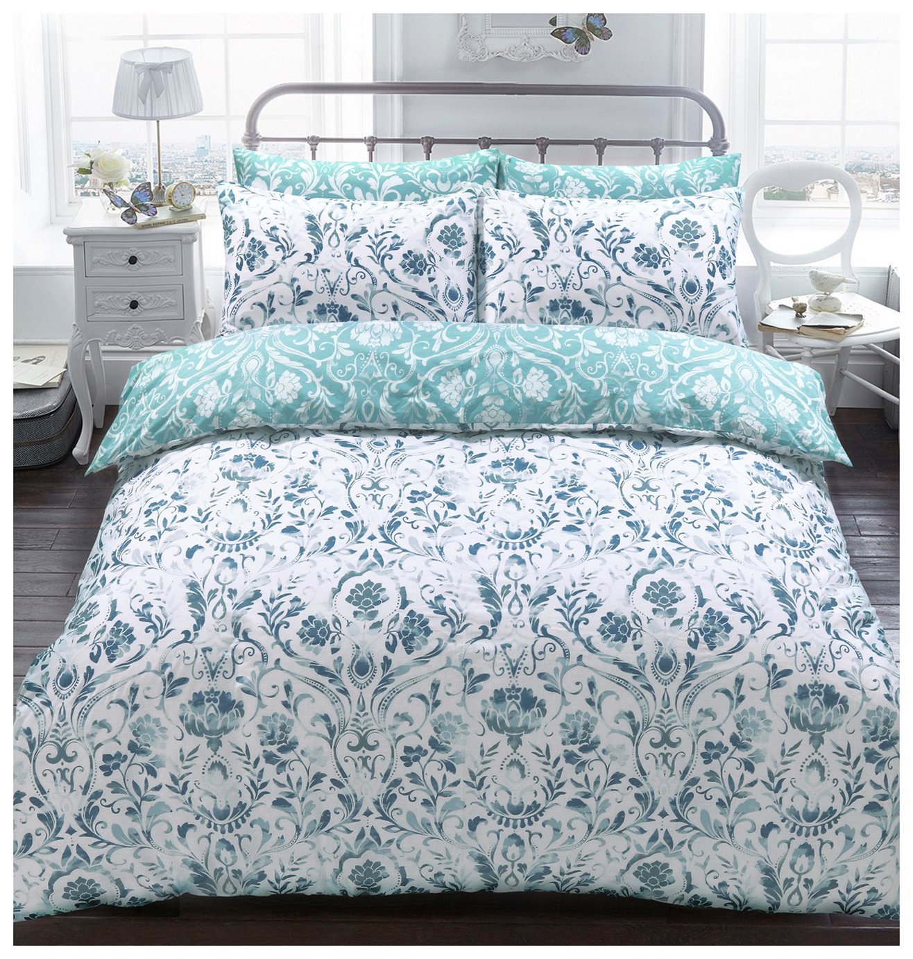 Argos Home Teal Painted Damask Bedding Set - Kingsize