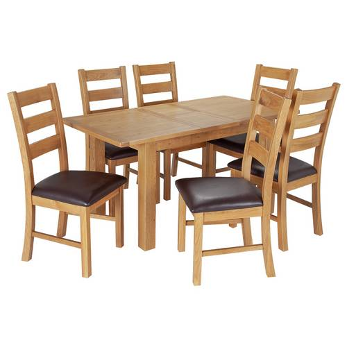 Buy Argos Home Ashwell Extendable Table & 6 Farmhouse