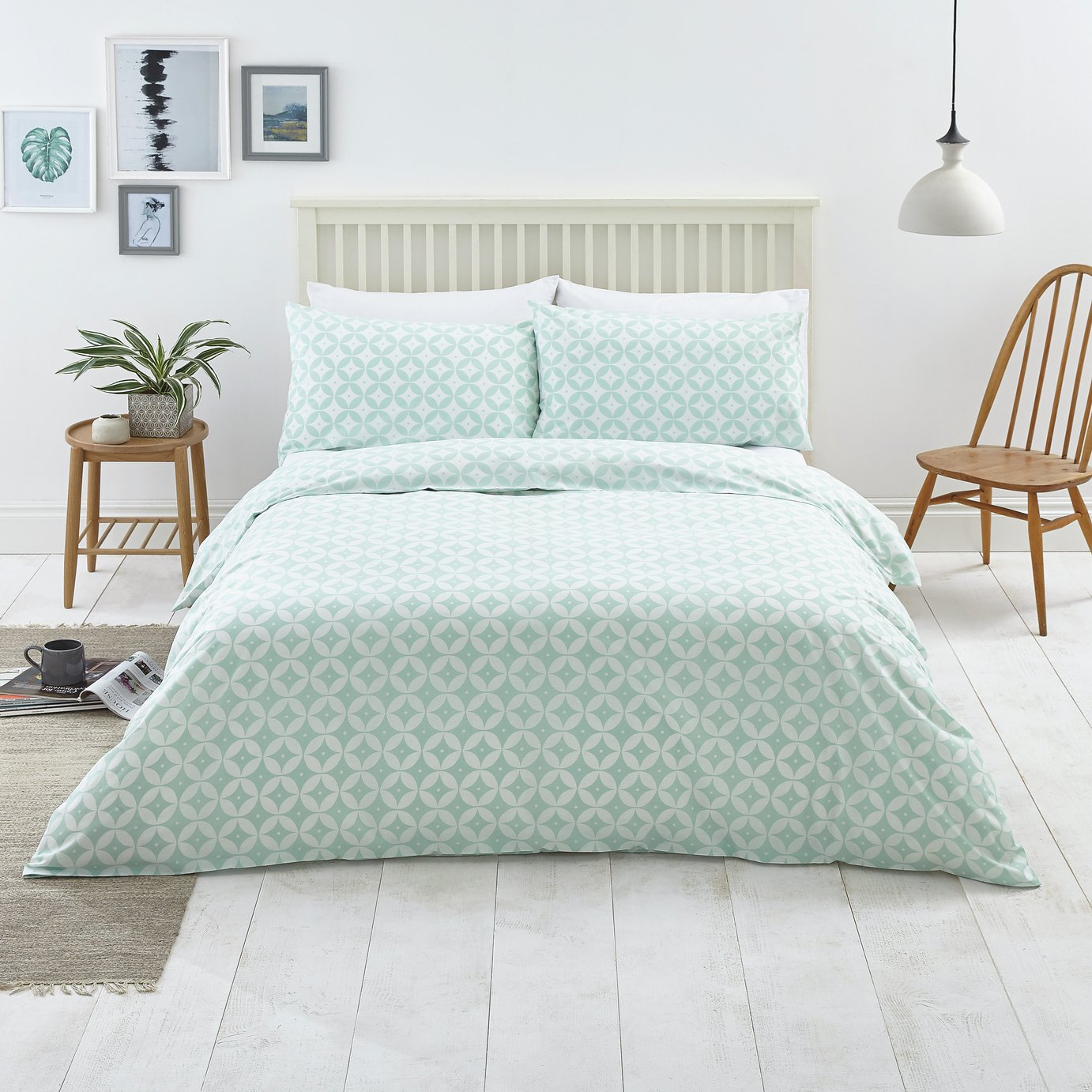 Argos Home Duck Egg Geo Bedding Set - Kingsize