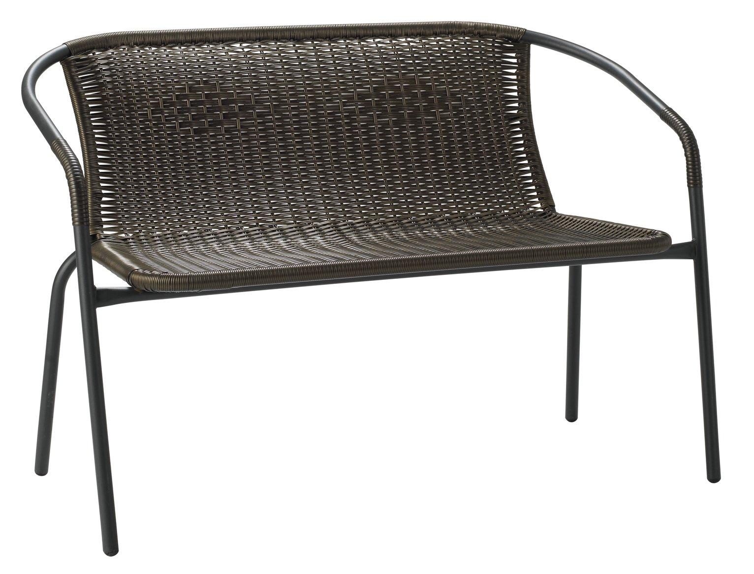 Argos Home Steel Wicker 2 Seater Garden Bench - Brown