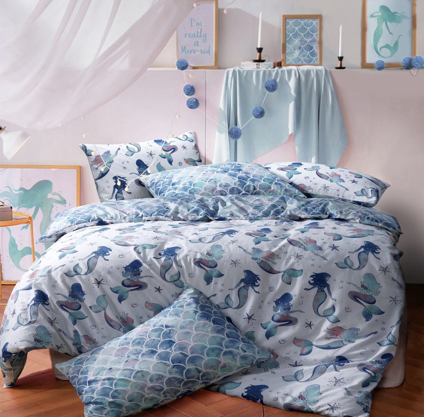 Argos Home Mermaid Bedding Set - Kingsize