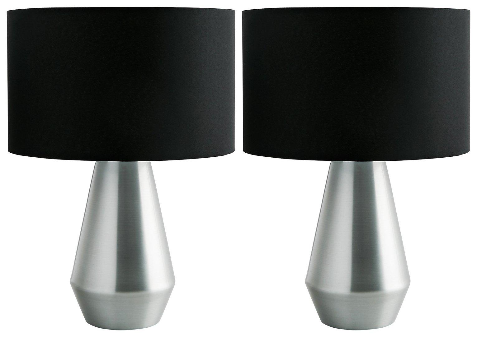 Habitat Maya Pair of Touch Table Lamps - Black