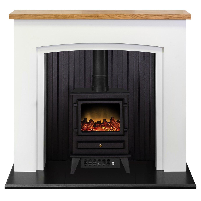 Adam Siena 2kW Electric Stove Fire Suite - White & Black