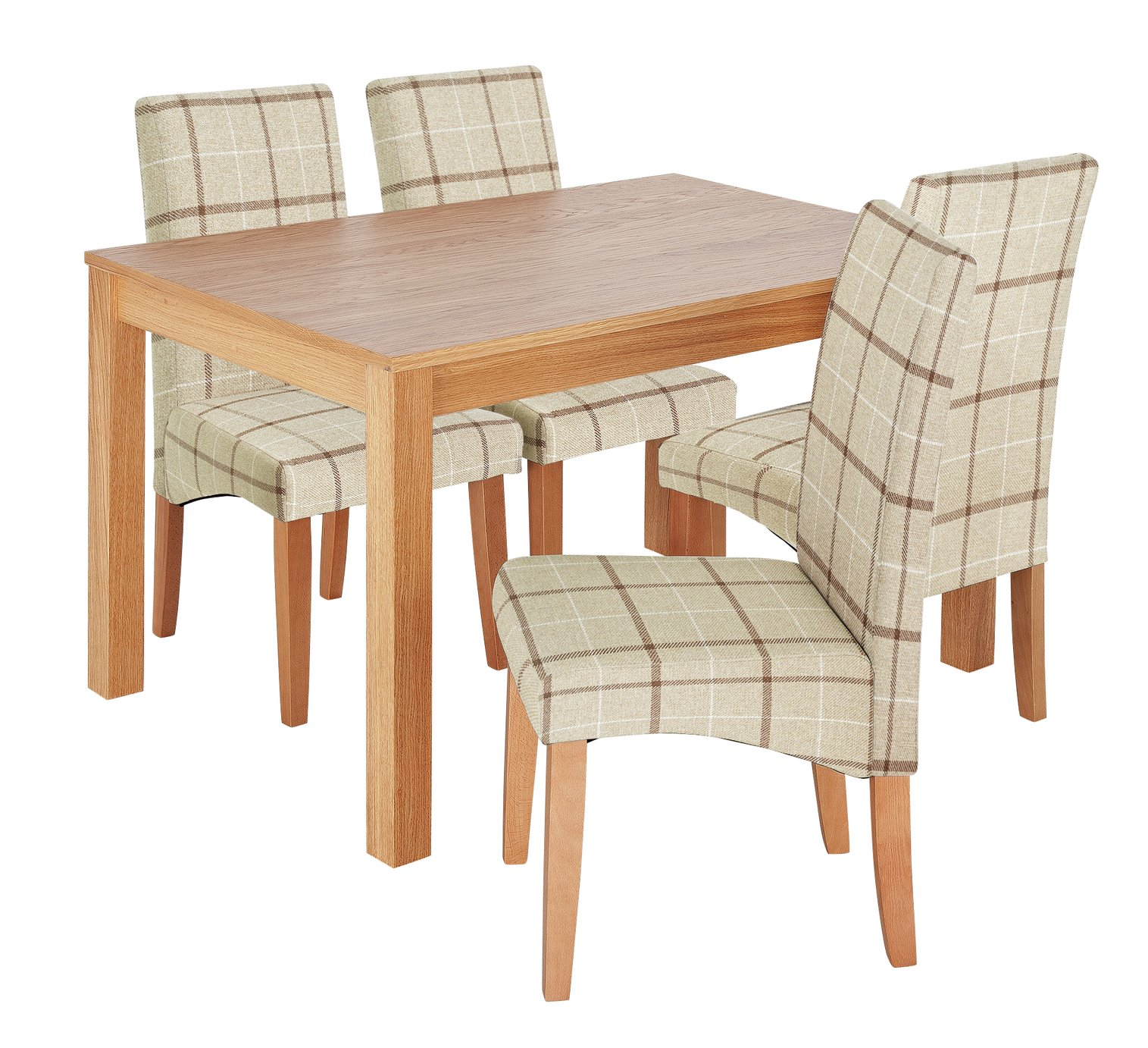 Argos Home Clifton Oak Dining Table & 4 Cream Check Chairs