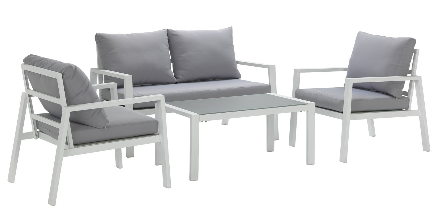 Argos Home Aluminium 4 Seater Sofa Set - Light Grey
