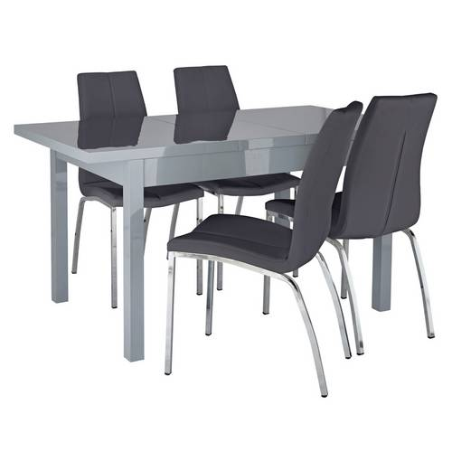 Buy Argos Home Lyssa Extendable Grey Table & 4 Milo Chairs