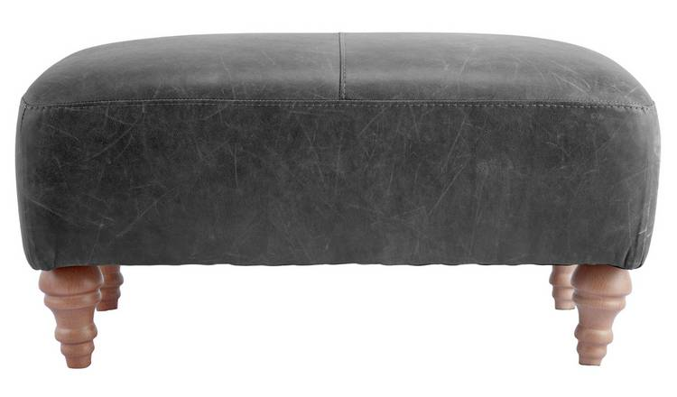 Argos Home Livingston Leather Footstool - Ash Grey