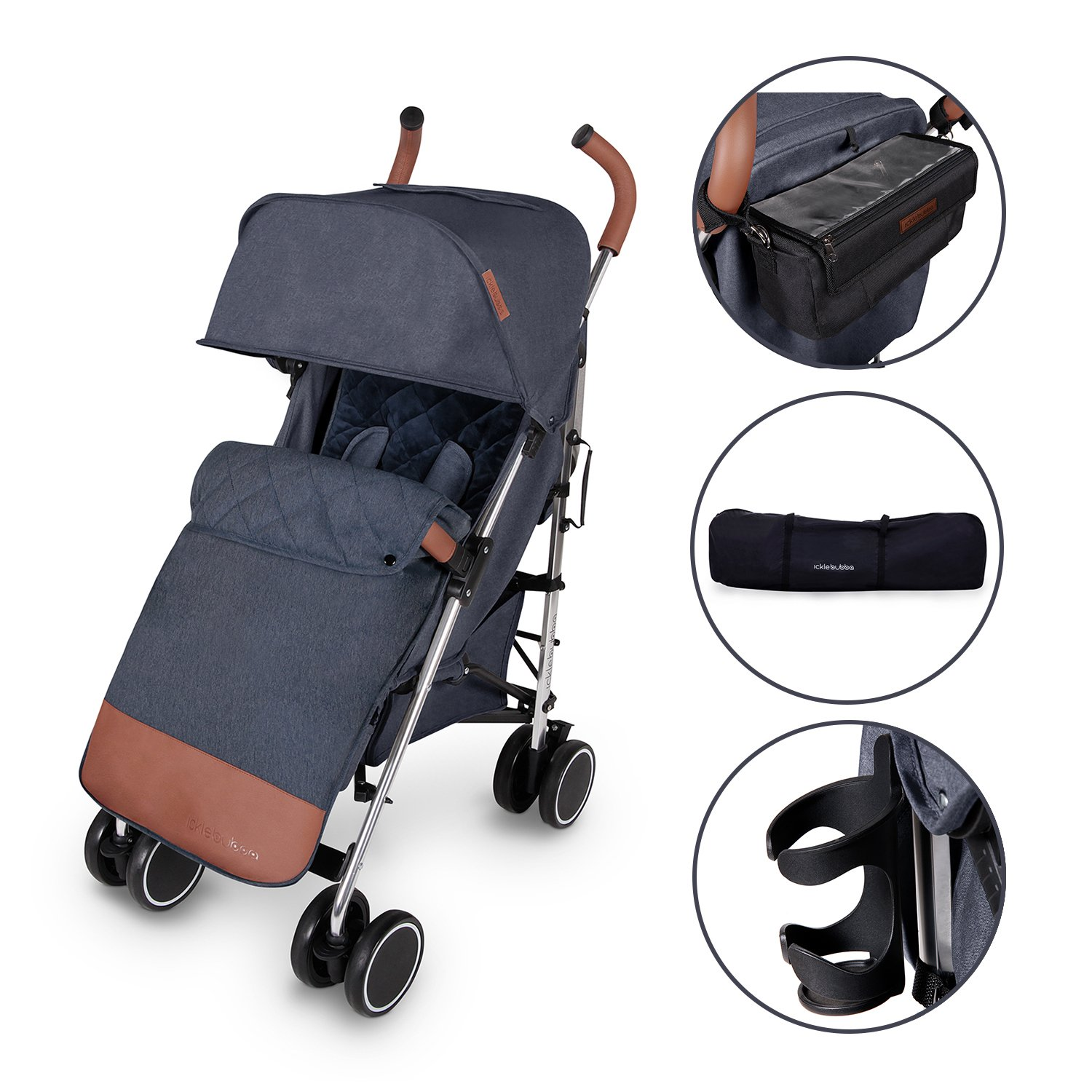 Ickle Bubba Discovery Prime Stroller - Blue on Silver